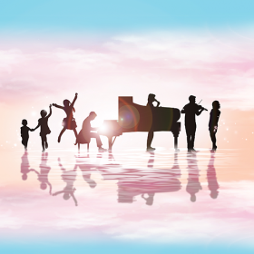 Children standing next to a piano